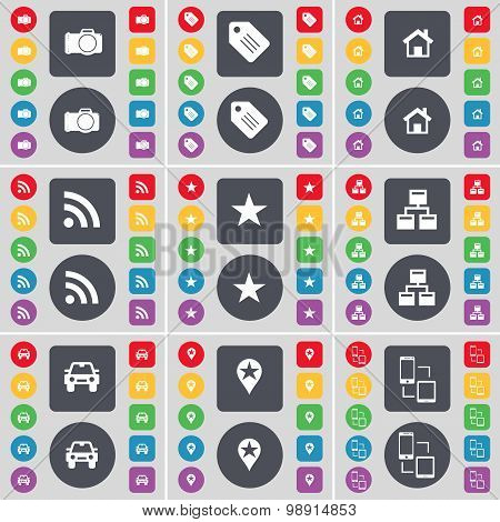 Camera, Tag, House, Rss, Star, Network, Car, Checkpoint, Connection Icon Symbol. A Large Set Of Flat