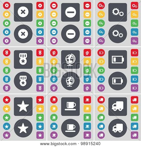 Stop, Minus, Gear, Medal, Globe, Battery, Star, Cup, Truck Icon Symbol. A Large Set Of Flat, Colored