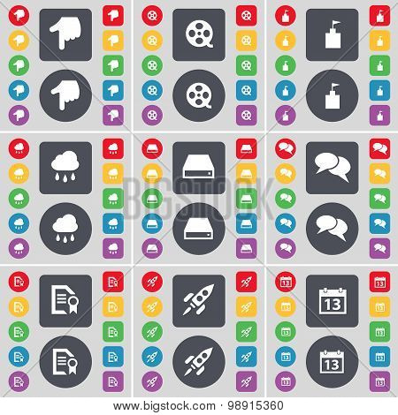 Hand, Videotape, Flag Tower, Cloud, Hard Drive, Chat, Text File, Rocket, Calendar Icon Symbol. A Lar