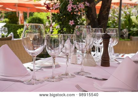 summer terrace with drinks and meals ready to eat, Marbella Spain