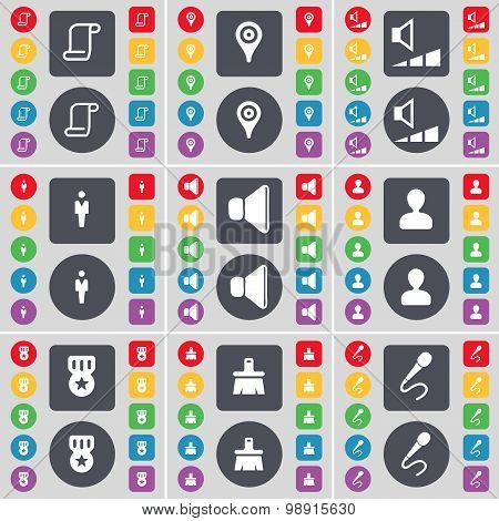 Scroll, Checkpoint, Volume, Silhouette, Sound, Avatar, Medal, Brush, Microphone Icon Symbol. A Large