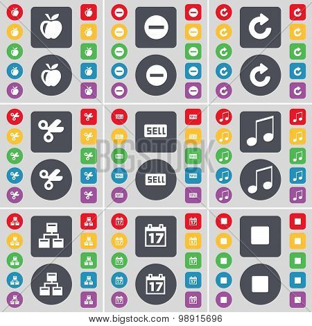 Apple, Minus, Reload, Scissors, Sell, Note, Network, Calendar, Media Stop Icon Symbol. A Large Set O