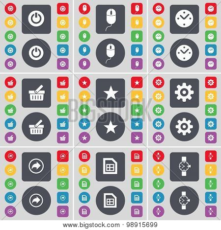 Power, Mouse, Clock, Basket, Star, Gear, Back, File, Wrist Watch Icon Symbol. A Large Set Of Flat, C