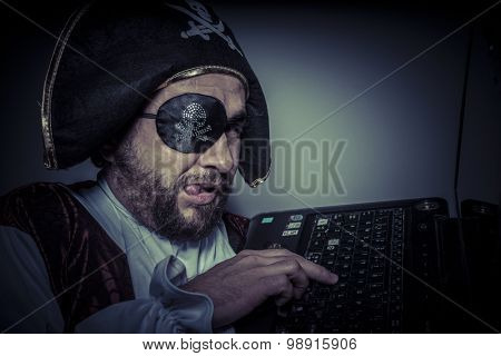 Password, computer security, hacker pirate dress with hat and skull