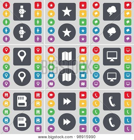 Wrist Watch, Star, Lightning, Checkpoint, Map, Monitor,  Sim Card, Rewind, Receiver Icon Symbol. A L