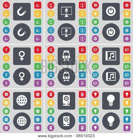 Magnet, Monitor, Power, Venus Symbol, Train, Music Window, Globe, Speaker, Light Bulb Icon Symbol. A