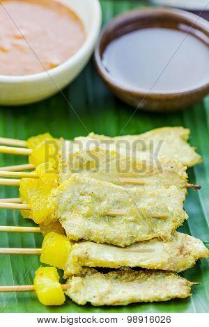 Grilled Pork Satay With Peanut Sauce And Vinegar, Thai Food.
