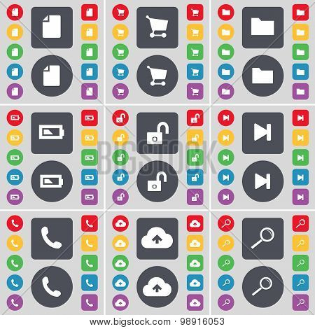 File, Shopping Cart, Folder, Battery, Lock, Media Skip, Receiver, Cloud, Magnifying Glass Icon Symbo