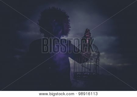 Monster, man with mask wolf and lamp with colored smoke