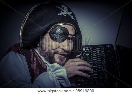 Privacy, computer security, hacker pirate dress with hat and skull