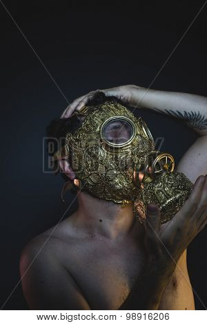 apocalypse, depression and danger man with golden gas mask