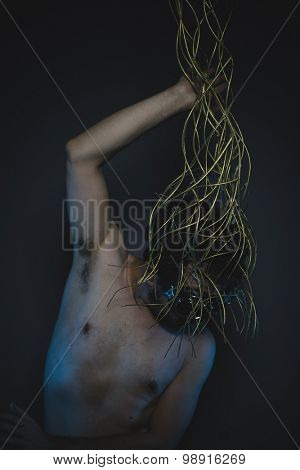 hostile, depression and anxiety, naked man with a crown of thorns on his head