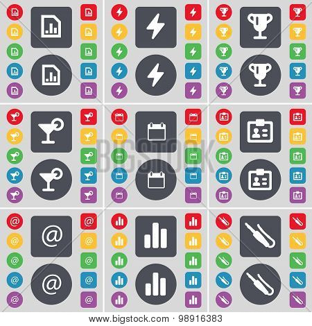 Diagram File, Flash, Cup, Cocktail, Calendar, Contact, Mail, Diagram, Microphone Connector Icon Symb