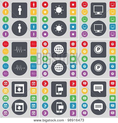Silhouette, Light, Monitor, Pulse, Globe, Parking, Window, Sms, Chat Bubble Icon Symbol. A Large Set