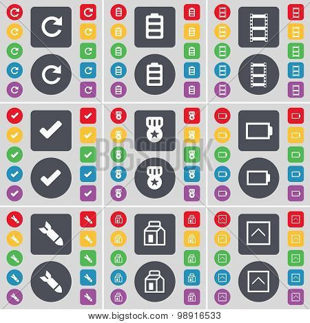 Reload, Battery, Negative Films, Tick, Medal, Rocket, Packing, Arrow Up Icon Symbol. A Large Set Of