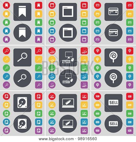 Marker, Window, Credit Card, Magnifying Glass, Pc, Lollipop, Hard Drive, Laptop, Sell Icon Symbol. A