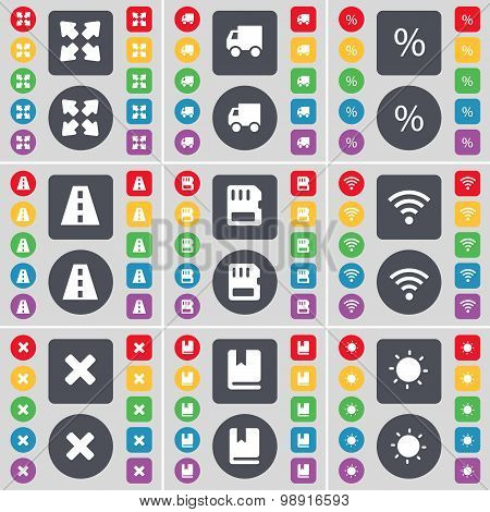Full Screen, Truck, Percent, Road, Sim Card, Wi-fi, Stop, Dictionary, Light Icon Symbol. A Large Set