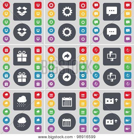 Dropbox, Gear, Chat Bubble, Gift, Back, Mailbox, Cloud, Calendar, Cassette Icon Symbol. A Large Set