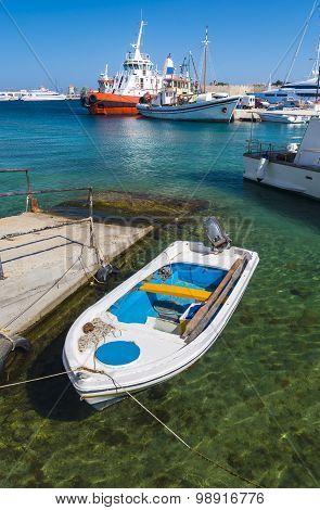 Boats In Mandraki Harbour, Rhodes