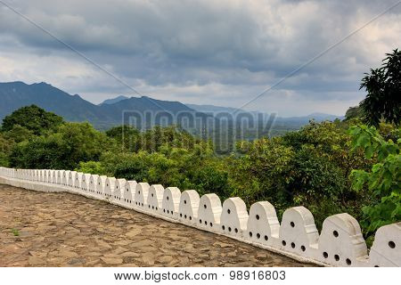 viewpoint on valley from Buddha Rock temple in Dambulla, Shri Lanka