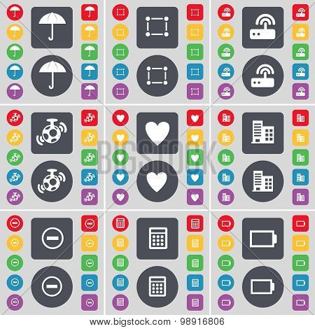 Umbrella, Frame, Router, Speaker, Heart, Building, Minus, Calculator, Battery Icon Symbol. A Large S