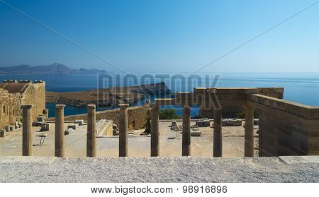 Columns At The Acropolis Of Lindos, Rhodes