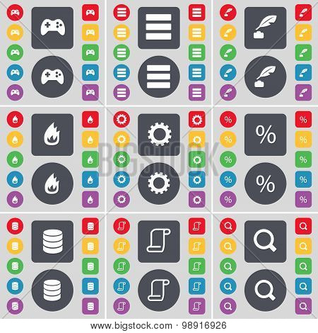 Gamepad, Apps, Ink Pen, Fire, Gear, Percent, Database, Scroll, Magnifying Glass Icon Symbol. A Large