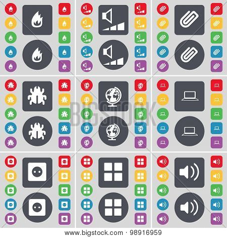 Fire, Volume, Clip, Bug, Globe, Laptop, Socket, Apps, Sound Icon Symbol. A Large Set Of Flat, Colore