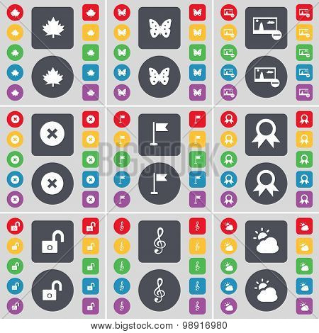 Maple Leaf, Butterfly, Picture, Stop, Golf Hole, Medal, Lock, Clef, Cloud Icon Symbol. A Large Set O