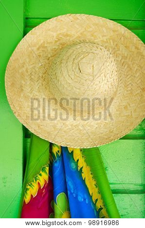 Straw Hats For Sale In A Tropical Souvenir Shop
