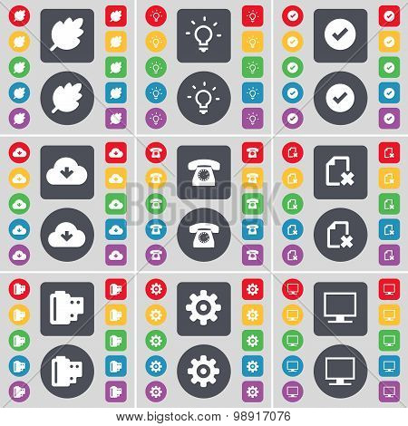 Leaf, Light Bulb, Tick, Cloud, Retro Phone, File, Negative Films, Gear, Monitor Icon Symbol. A Large