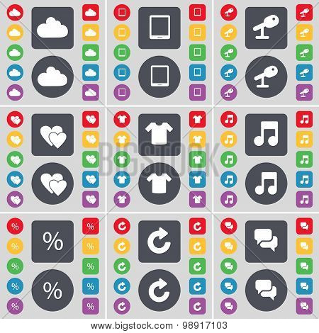 Cloud, Tablet Pc, Microphone, Heart, T-shirt, Note, Percent, Reload, Chat Icon Symbol. A Large Set O