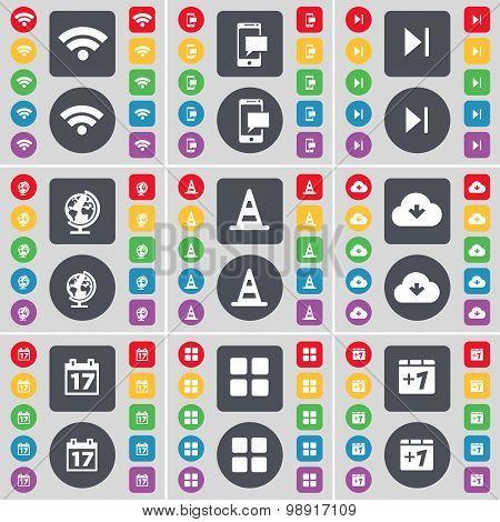 Wi-fi, Sms, Media Skip, Globe, Cone, Cloud, Calendar, Apps, Plus One Icon Symbol. A Large Set Of Fla