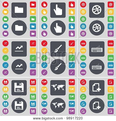 Folder, Hand, Ball, Graph, Brush, Keyboard, Floppy, Globe, File Icon Symbol. A Large Set Of Flat, Co