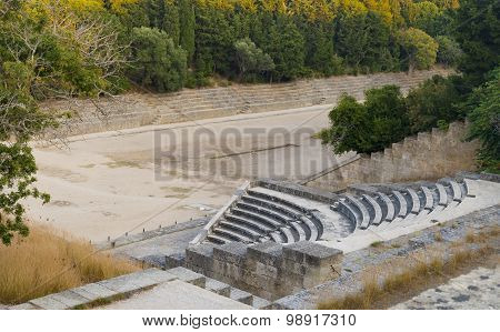 Stadium At The Acropolis Of Rhodes, Greece