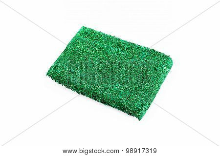 Green Sponge Over White Background.