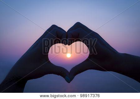 Hand Heart Sunset On Rhodes, Greece