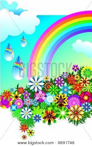 Rainbow mirrored in the falling rain drops