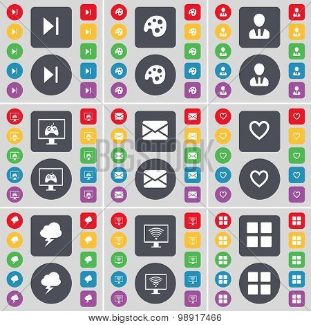 Media Skip, Palette, Avatar, Monitor, Message, Heart, Lightning, Monitor, Apps Icon Symbol. A Large
