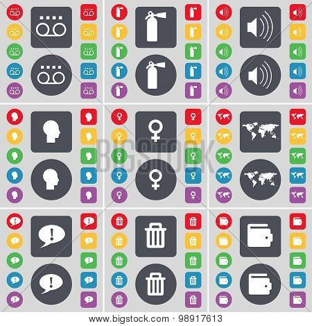 Cassette, Fire Extinguisher, Sound, Silhouette, Globe, Chat Bubble, Trash Can, Wallet Icon Symbol. A