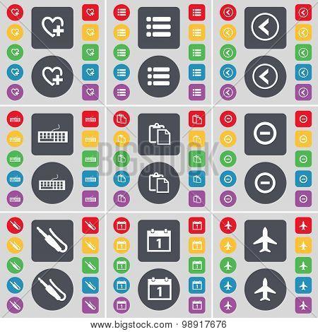 Heart, List, Arrow Left, Keyboard, Survey, Minus, Microphone Connector, Calendar, Airplane Icon Symb