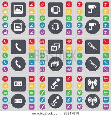Window, Smartphone, Cctv, Receiver, Gallery, Link, Buy, Microphone, Wi-fi Icon Symbol. A Large Set O