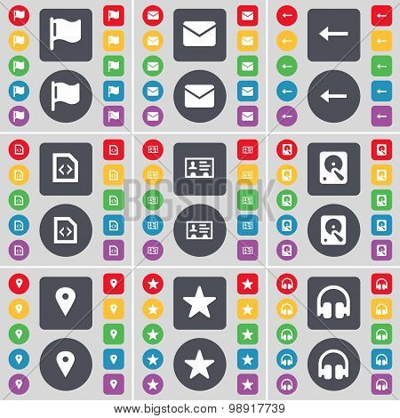Flag, Message, Arrow Left, File, Contact, Hard Drive, Checkpoint, Star, Headphones Icon Symbol. A La