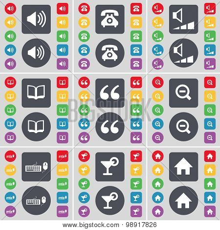 Sound, Retro Phone, Volume, Book, Quotation Mark, Magnifying Glass, Keyboard, Cocktail, House Icon S
