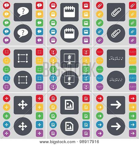 Chat Bubble, Calendar, Clip, Frame, Monitor, Note, Moving, Media File, Arrow Right Icon Symbol. A La