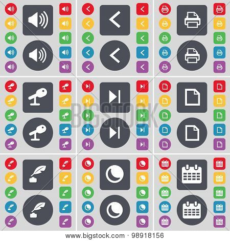 Sound, Arrow Left, Printer, Microphone, Media Skip, File, Ink Pot, Moon, Calendar Icon Symbol. A Lar