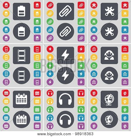 Battery, Clip, Wrench, Negative Films, Flash, Avatar, Calendar, Headphones, Globe Icon Symbol. A Lar