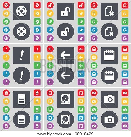 Videotape, Lock, File, Exclamation Mark, Arrow Left, Calendar, Battery, Hard Drive, Camera Icon Symb