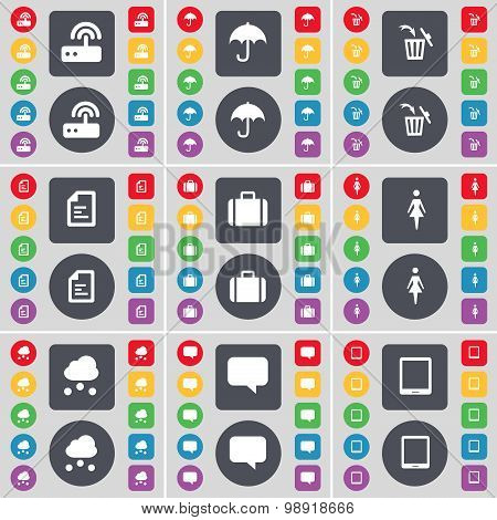 Router, Umbrella, Trash Can, Text File, Suitcase, Silhouette, Cloud, Chat Bubble, Tablet Pc Icon Sym
