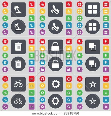 Palm, Receiver, Apps, Trash Can, Lock, Copy, Bicycle, Gear, Star Icon Symbol. A Large Set Of Flat, C